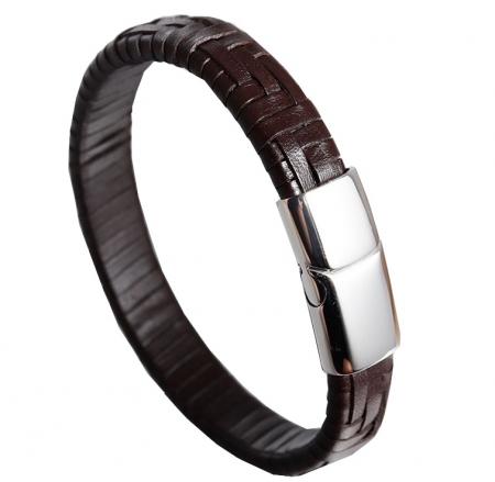 Lederen Armband - Donkerbruin - Stalen Sluiting