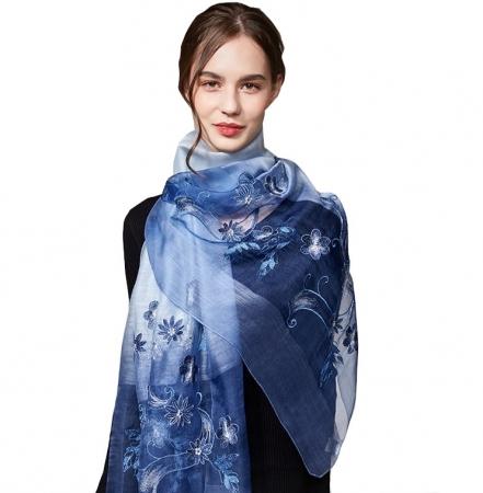 Geborduurde Sjaal - Zijde Wol - Bloemen - Blauw