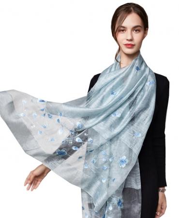 Dames Sjaal - Geborduurd - Bloemen - Lichtblauw