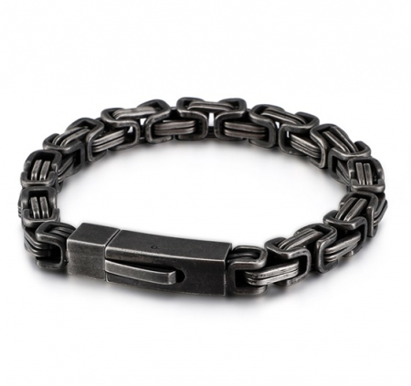 Donkere Konings Armband - Schakelarmband - Edelstaal - Ø 7mm