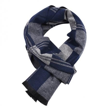 Herensjaal - Men's Shawl - Blauw Geruite Sjaal