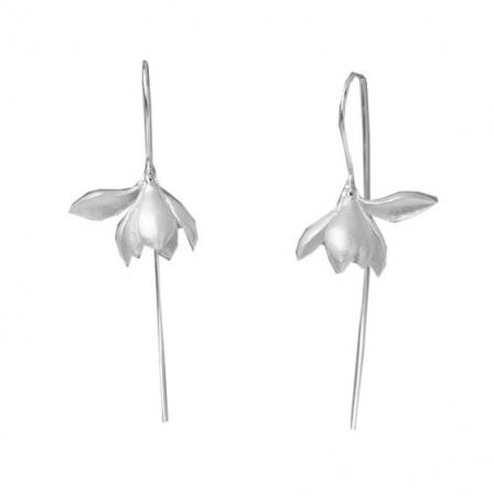 Lange Oorbellen Lelie - Zilveren Oorbellen Dames - Oorhangers Zilver